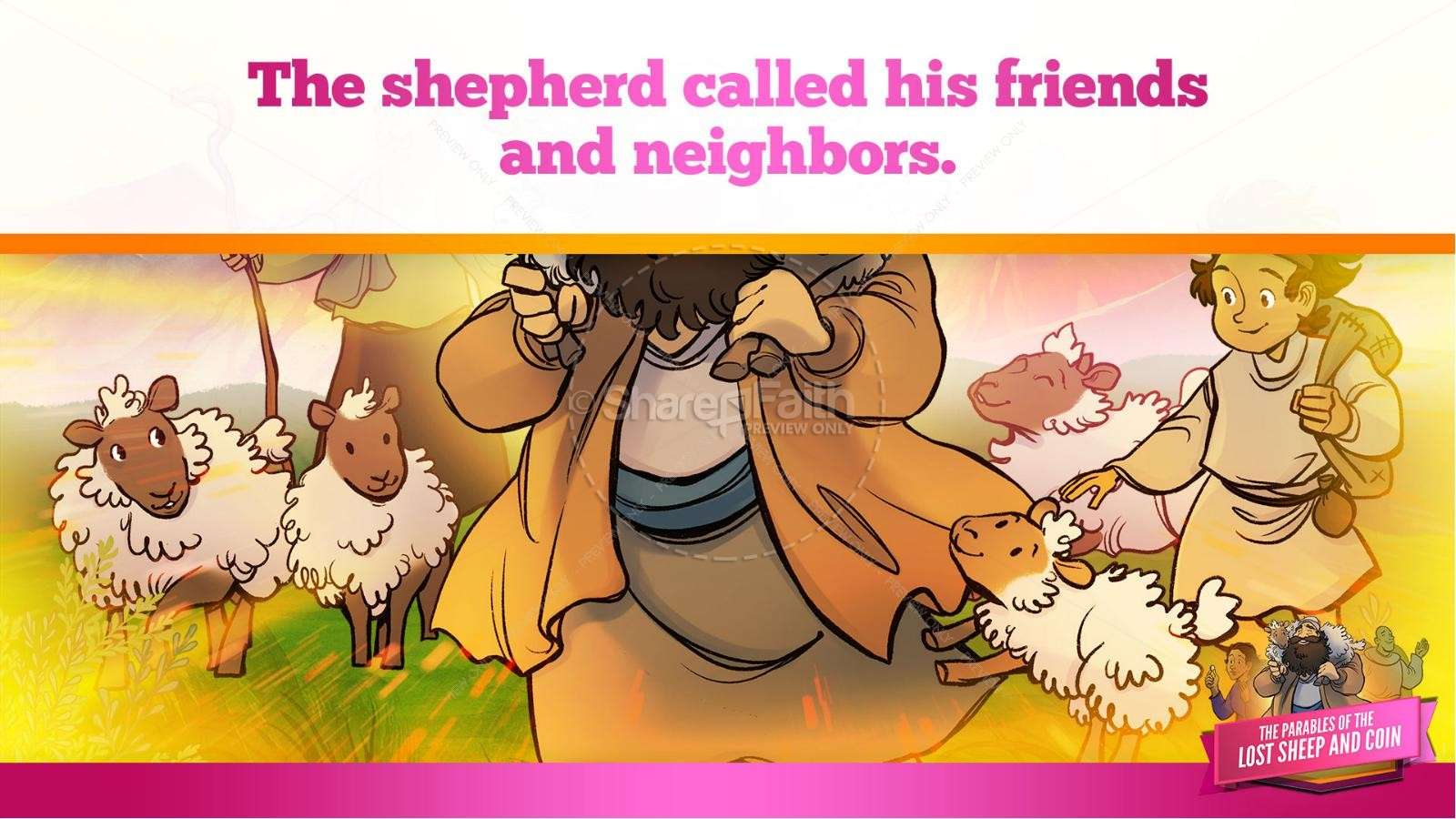 Luke 15 The Parables of the Lost Sheep and Coin Kids Bible Story | slide 20
