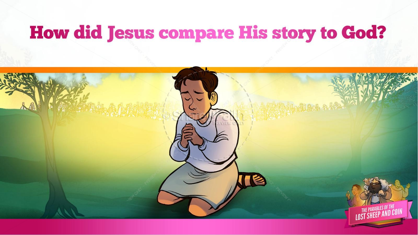 Luke 15 The Parables of the Lost Sheep and Coin Kids Bible Story | slide 23