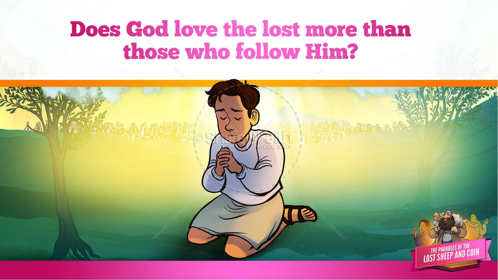 Luke 15 The Parables of the Lost Sheep and Coin Kids Bible Story | slide 25