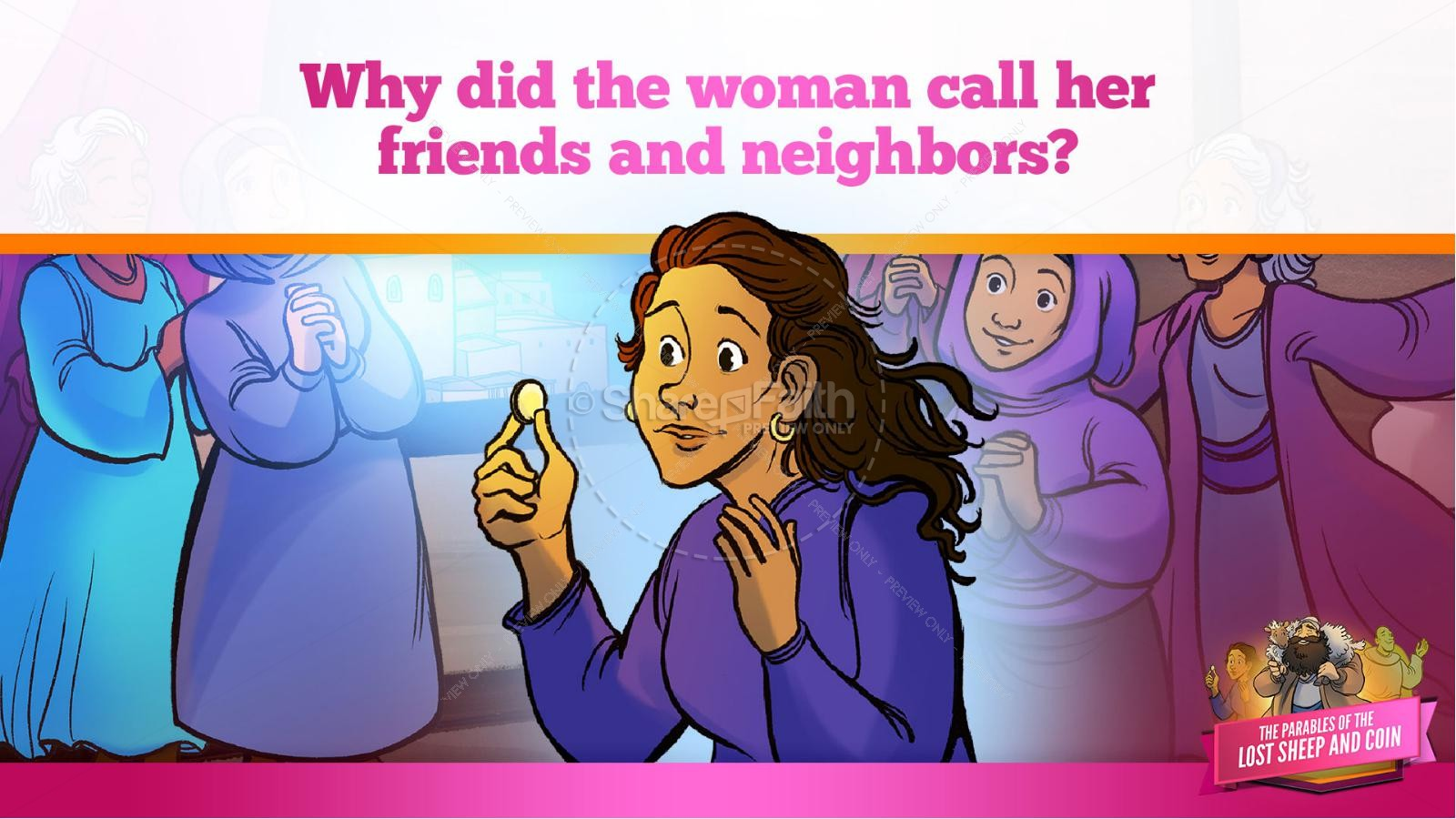 Luke 15 The Parables of the Lost Sheep and Coin Kids Bible Story | slide 31