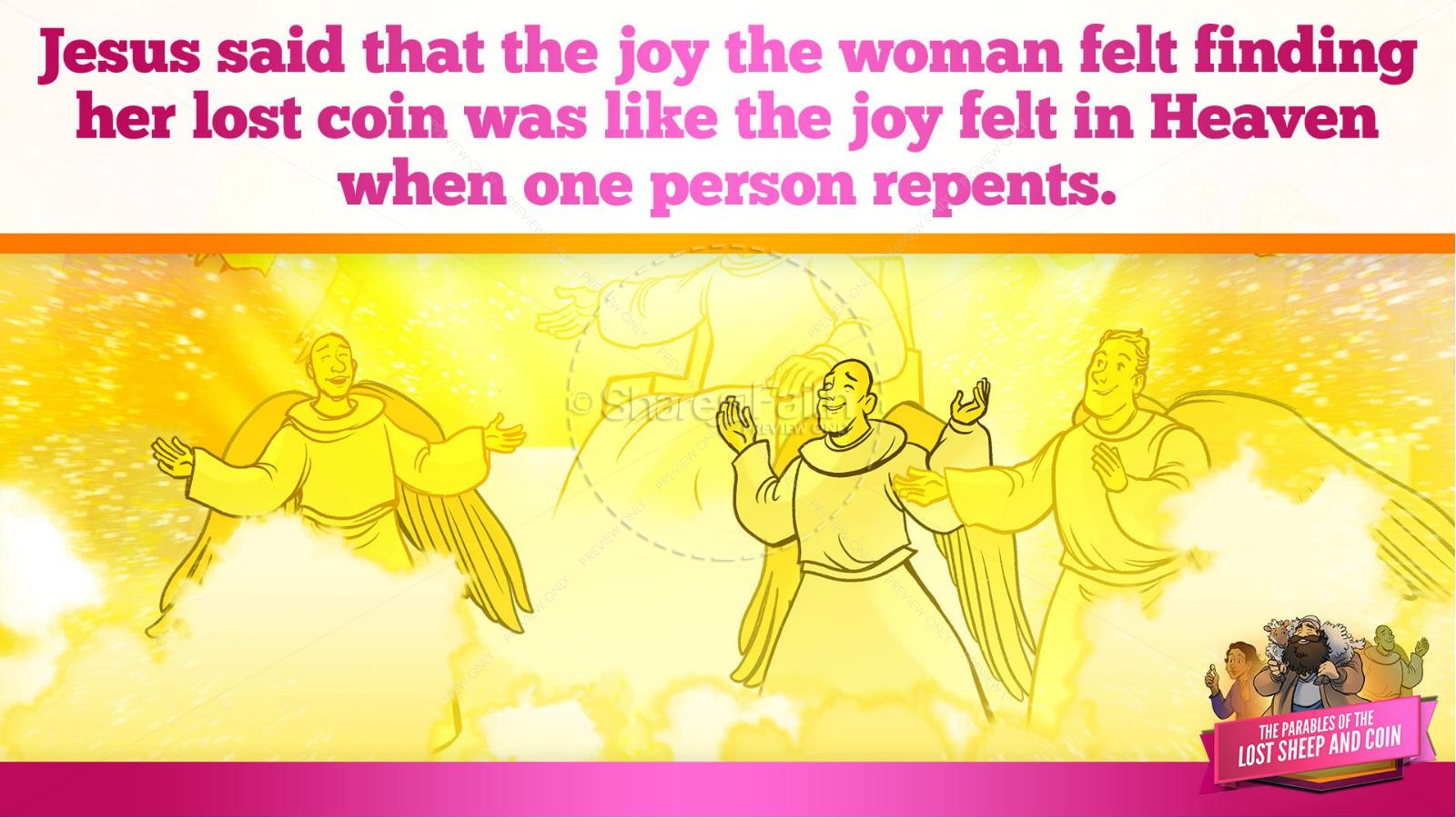Luke 15 The Parables of the Lost Sheep and Coin Kids Bible Story | slide 36