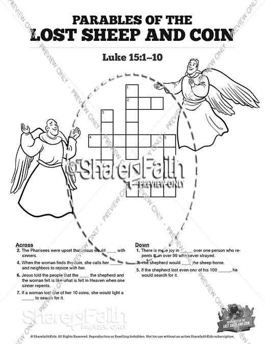 Luke 15 The Parables of the Lost Sheep and Coin Sunday School Crossword Puzzles