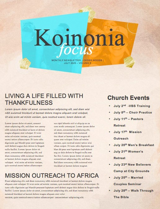 Friendology Church Newsletter