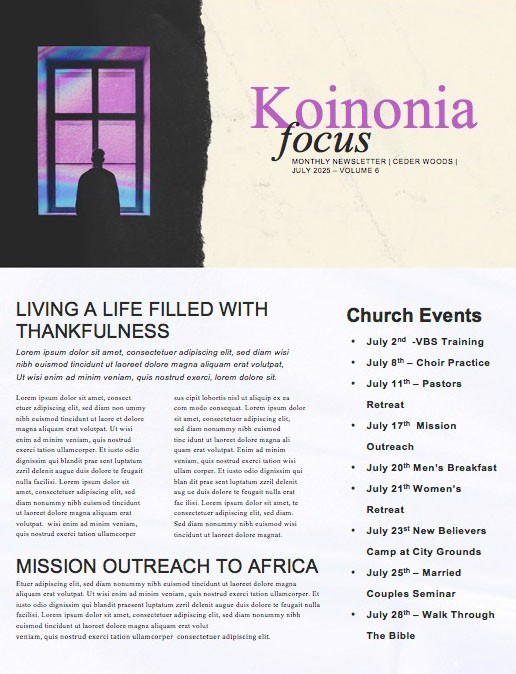 Isolated Church Newsletter