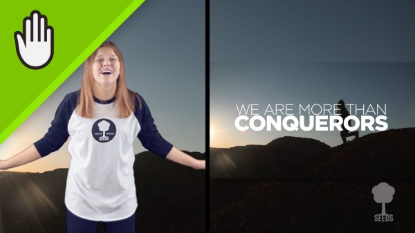 More Than Conquerors Kids Worship Video for Kids Hand Motions Split Screen