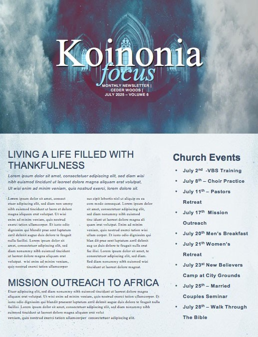 Worship Weekend Church Newsletter