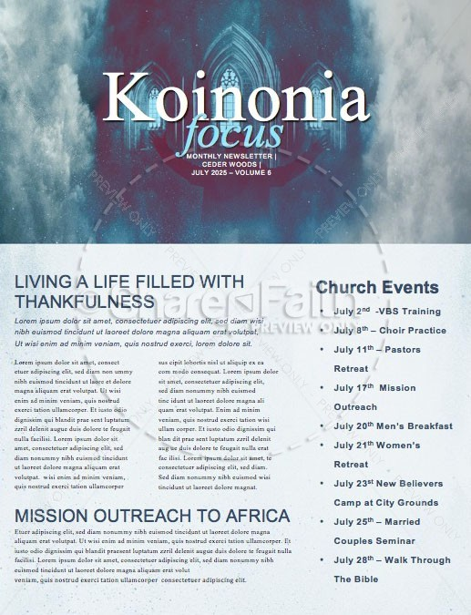 Worship Weekend Church Newsletter
