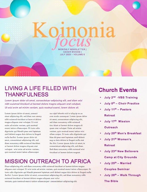 VBS Bubble Church Newsletter