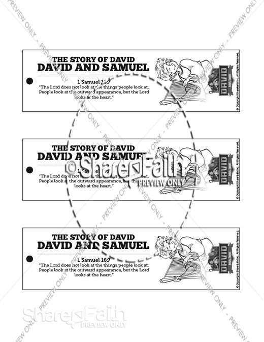 1 Samuel 16 David and Samuel Bible Bookmarks
