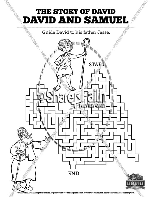 1 Samuel 16 David and Samuel Bible Mazes