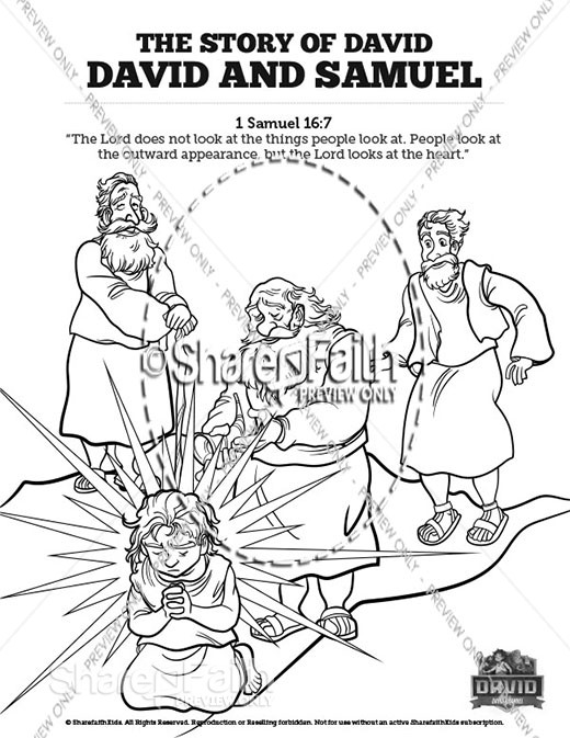 1 Samuel 16 David and Samuel Sunday School Coloring Pages