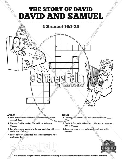 1 Samuel 16 David and Samuel Sunday School Crossword Puzzles