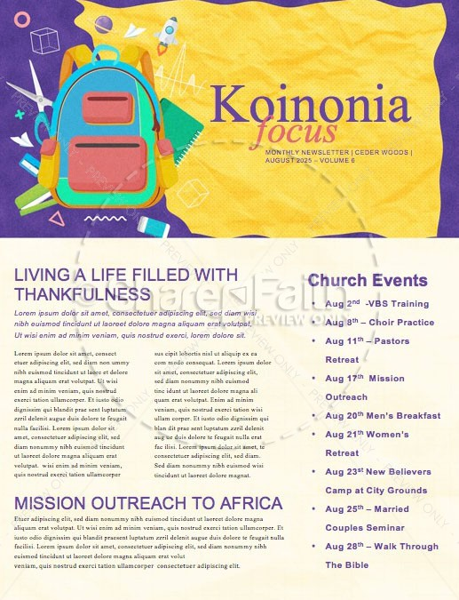 Back To School Yellow Church Newsletter
