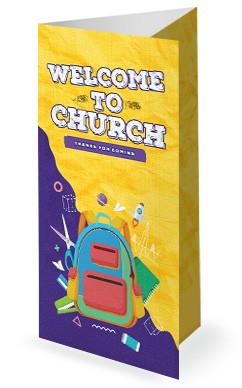 Back To School Yellow Church Trifold Bulletin