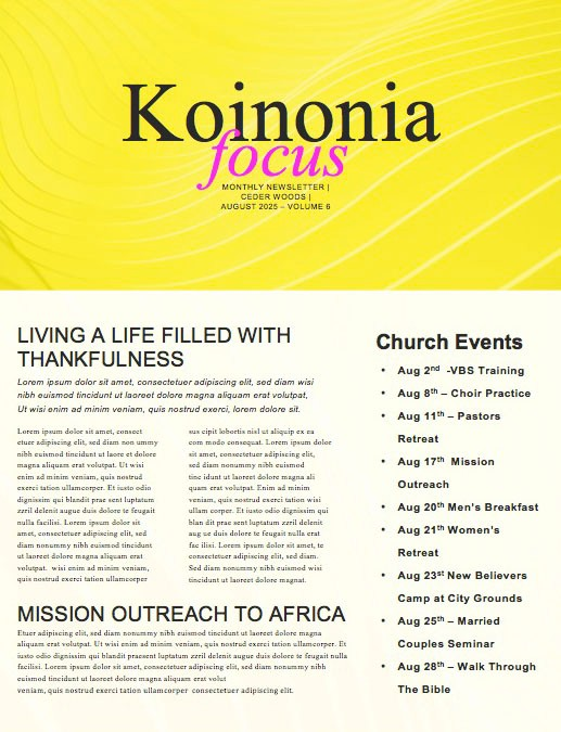 Influencer Yellow Church Newsletter
