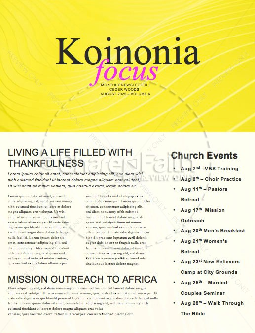 Influencer Yellow Church Newsletter | page 1
