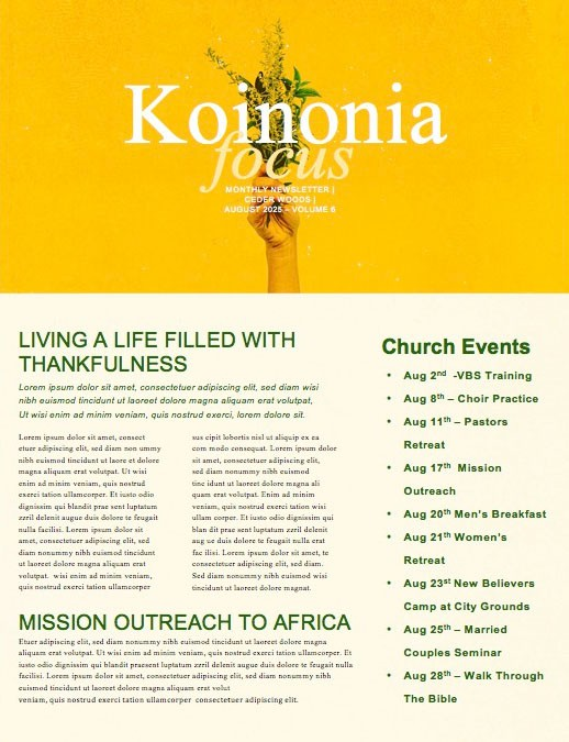 Generous Flowers Church Newsletter