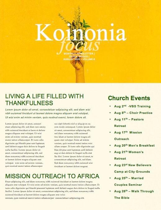 Generous Flowers Church Newsletter