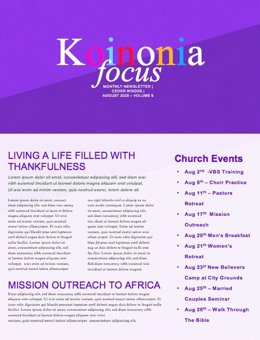 Do Good Purple Church Newsletter