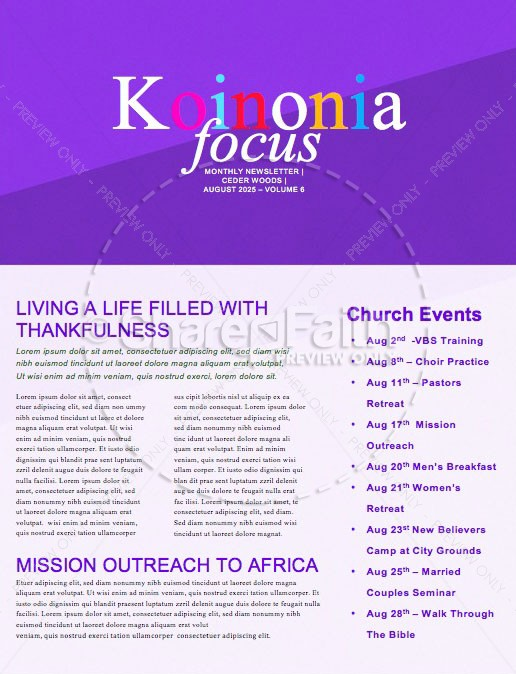 Do Good Purple Church Newsletter | page 1
