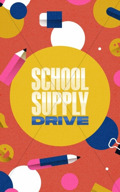 School Supply Drive Pencil Church Bifold Bulletin