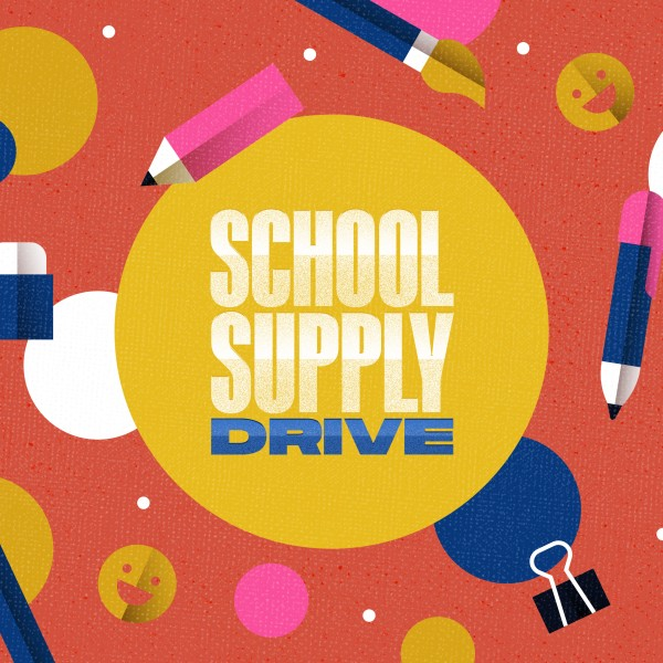 School Supply Drive Pencil Social Media Graphic
