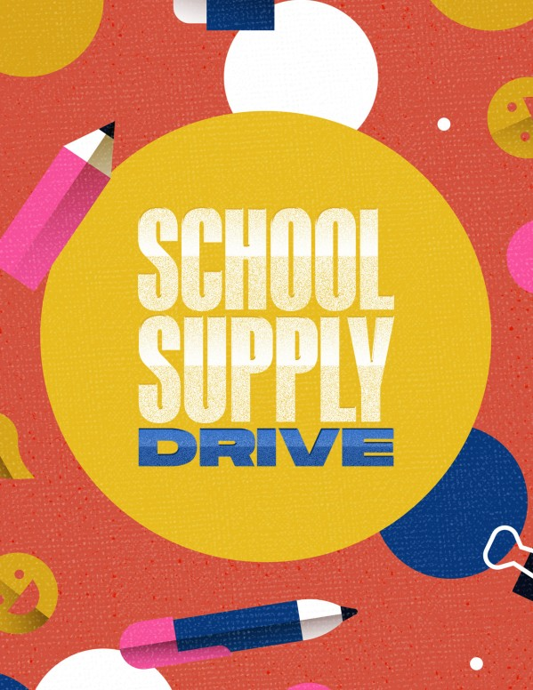 School Supply Drive Pencil Church Flyer
