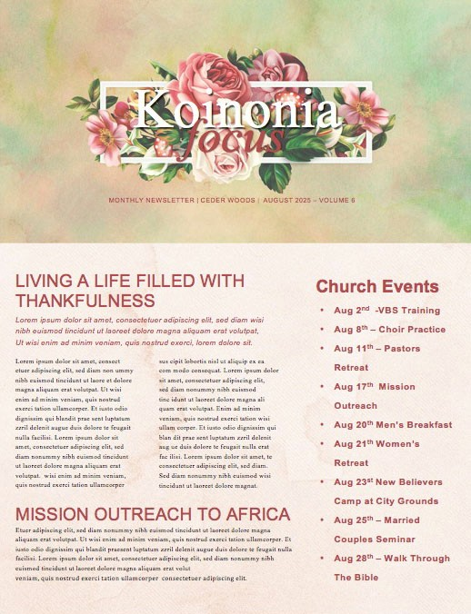 Be Kind Rose Church Newsletter