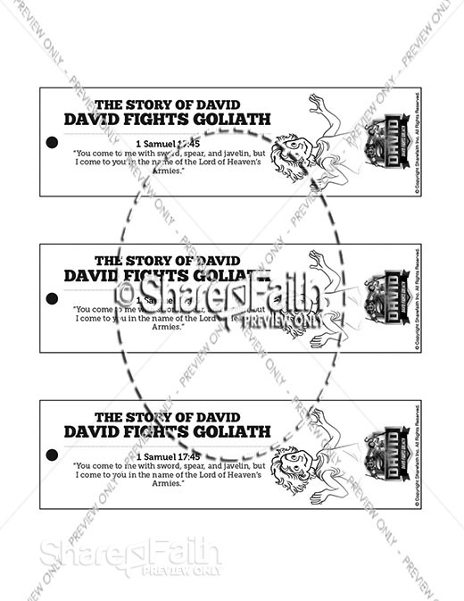 1 Samuel 17 David Fights Goliath Bible Bookmarks