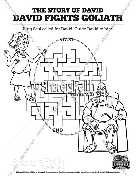 1 Samuel 17 David Fights Goliath Bible Mazes