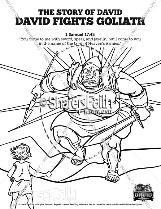 1 Samuel 17 David Fights Goliath Sunday School Coloring Pages