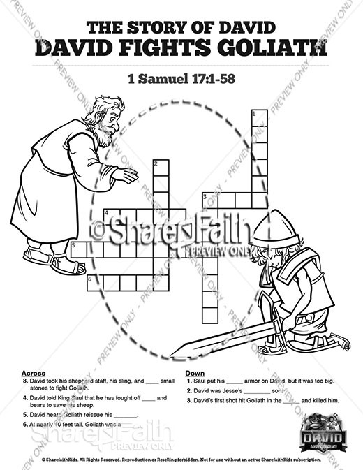 1 Samuel 17 David Fights Goliath Sunday School Crossword Puzzles