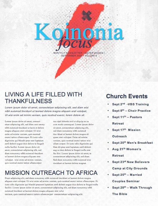 Culture Shock Church Newsletter