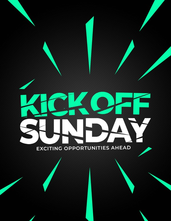 Kick Off Sunday Green Church Flyer