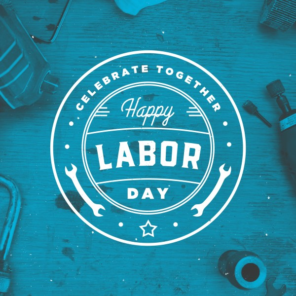 Blue Labor Day Social Media Graphic