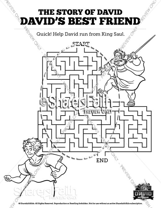 1 Samuel 18 19 David, Saul, and Jonathan Bible Mazes