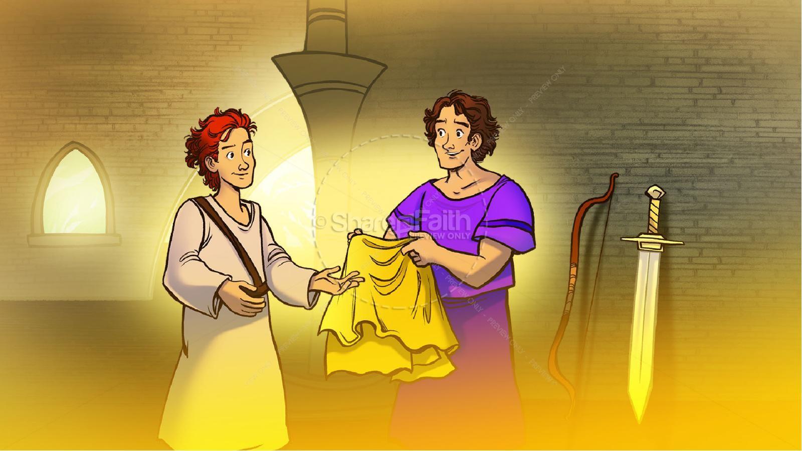 1 Samuel 18 19 David, Saul, & Jonathan Kids Bible Story   slide 2