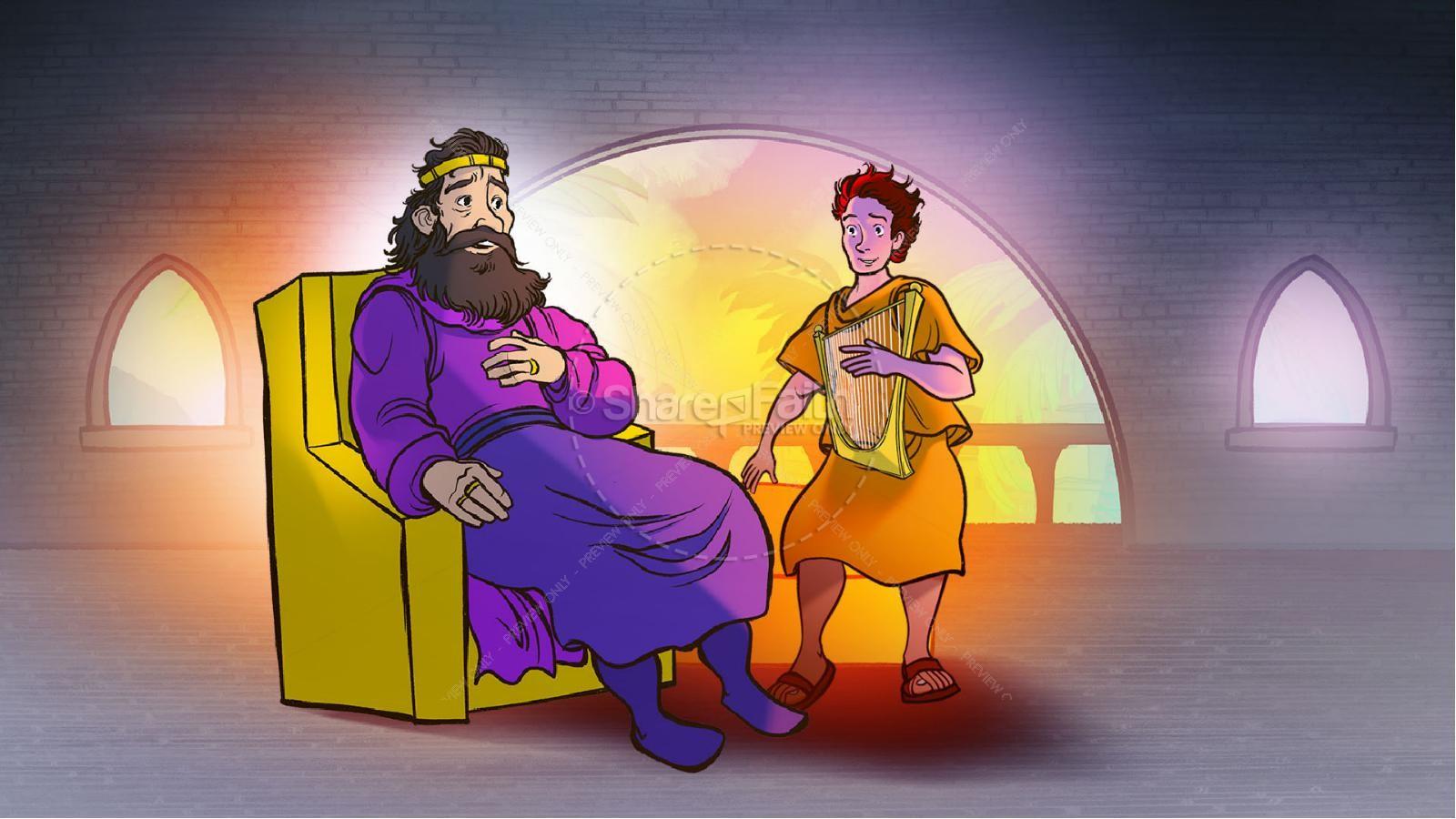 1 Samuel 18 19 David, Saul, & Jonathan Kids Bible Story | slide 13