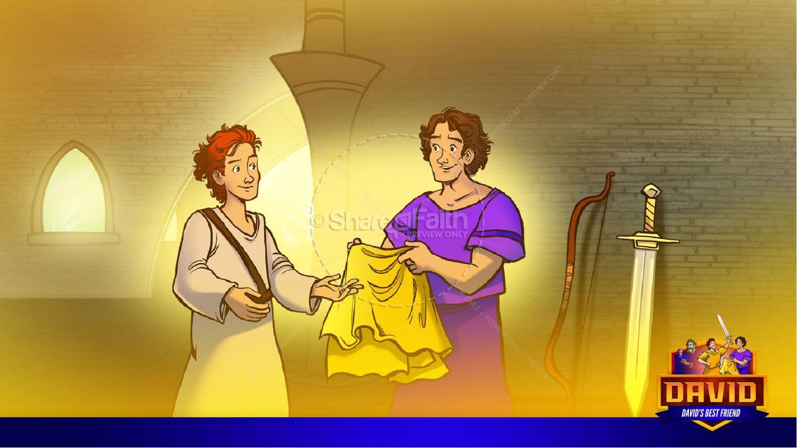1 Samuel 18 19 David, Saul, & Jonathan Kids Bible Story   slide 17