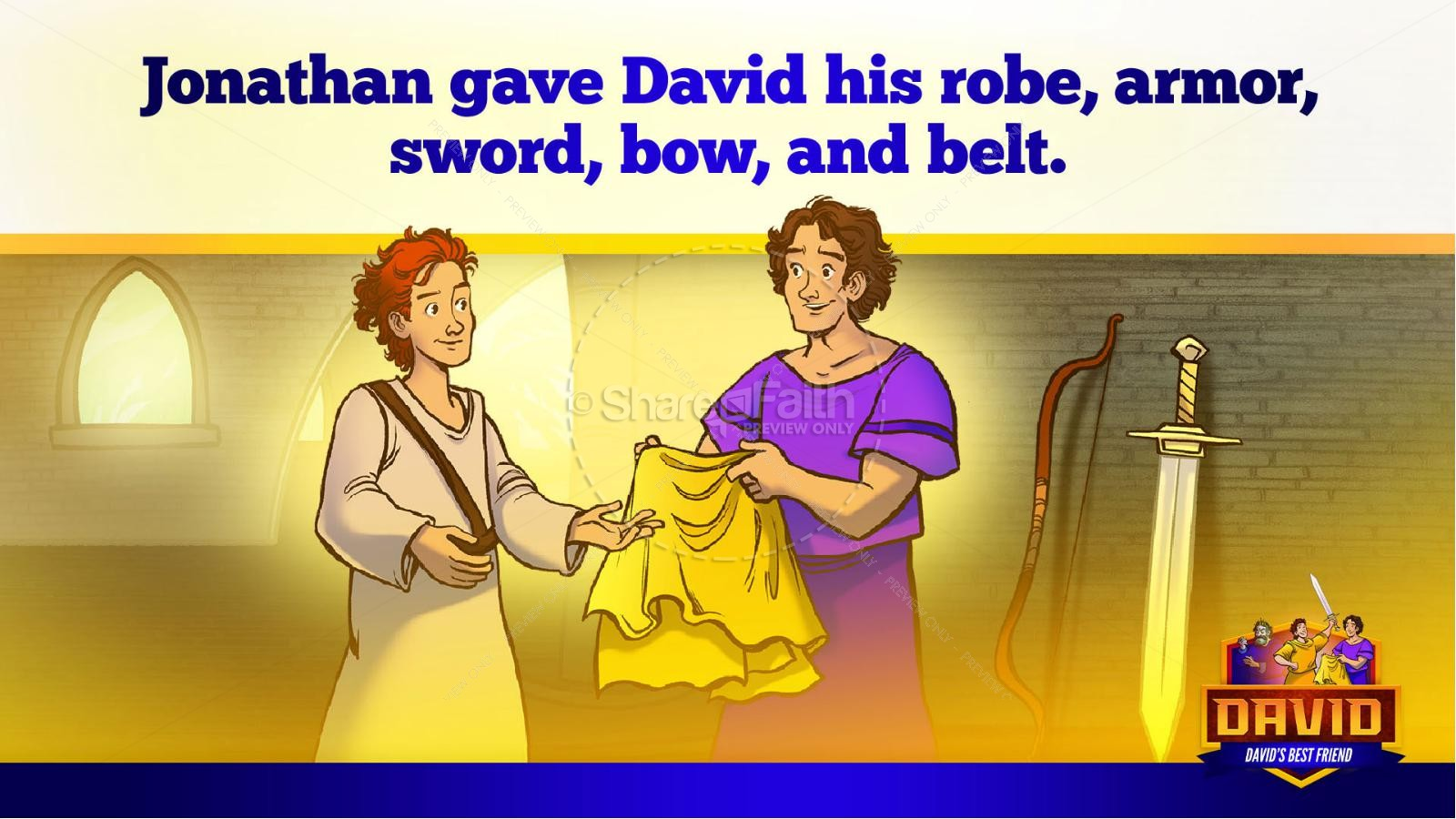 1 Samuel 18 19 David, Saul, & Jonathan Kids Bible Story | slide 19