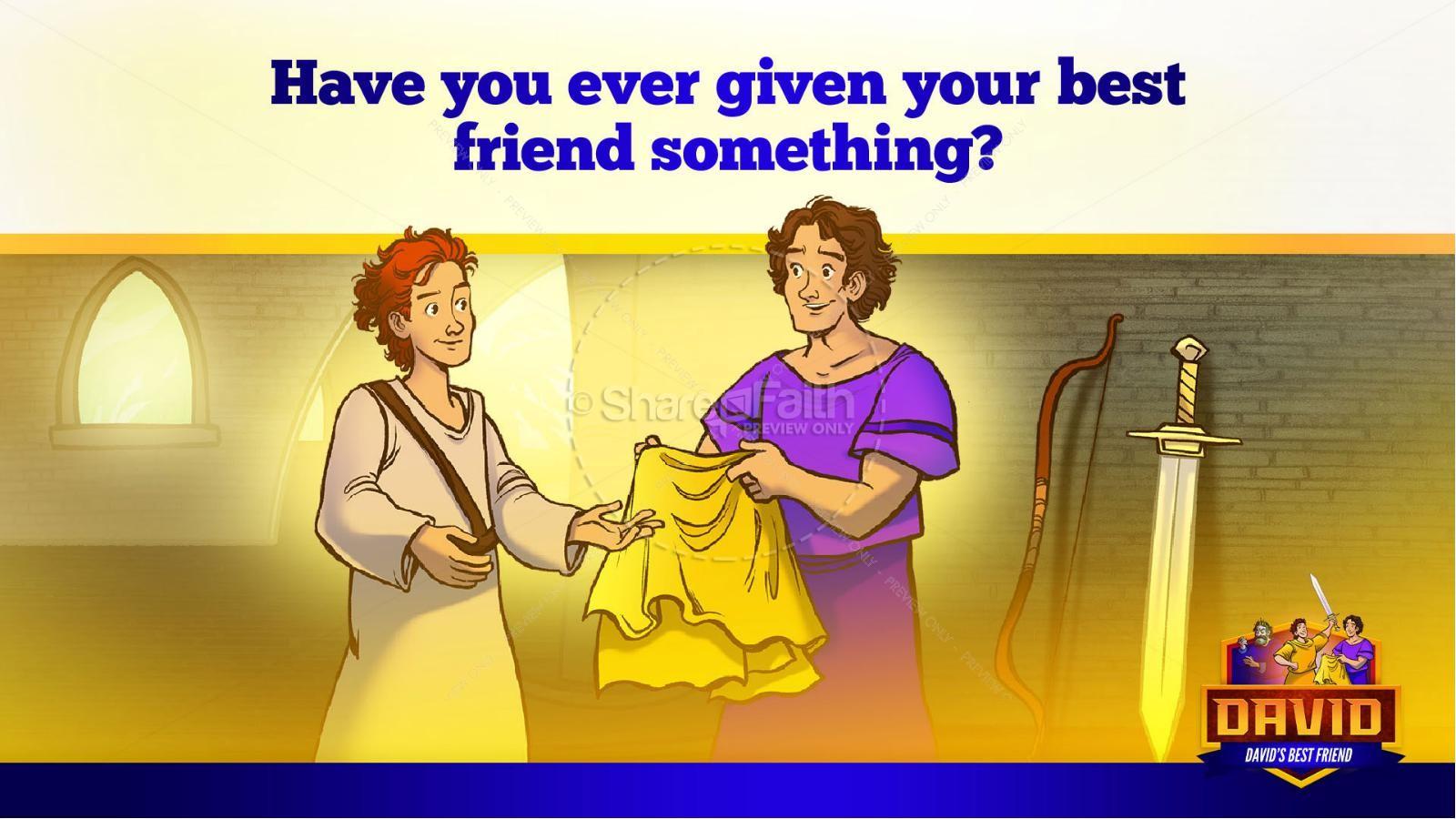 1 Samuel 18 19 David, Saul, & Jonathan Kids Bible Story   slide 20