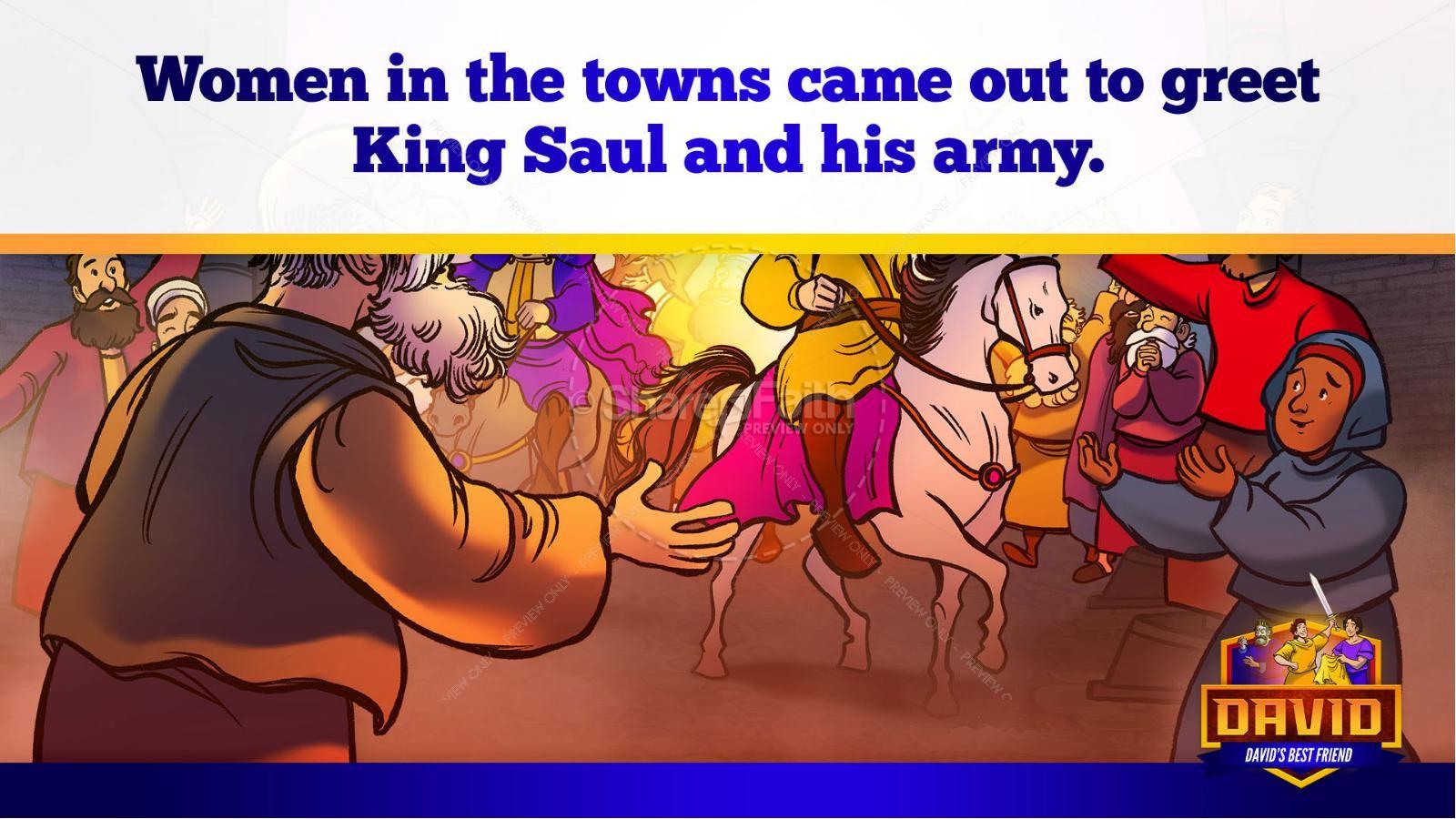 1 Samuel 18 19 David, Saul, & Jonathan Kids Bible Story | slide 23