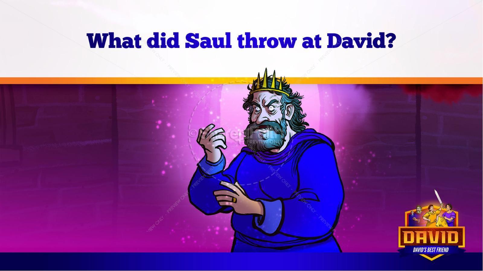 1 Samuel 18 19 David, Saul, & Jonathan Kids Bible Story   slide 26