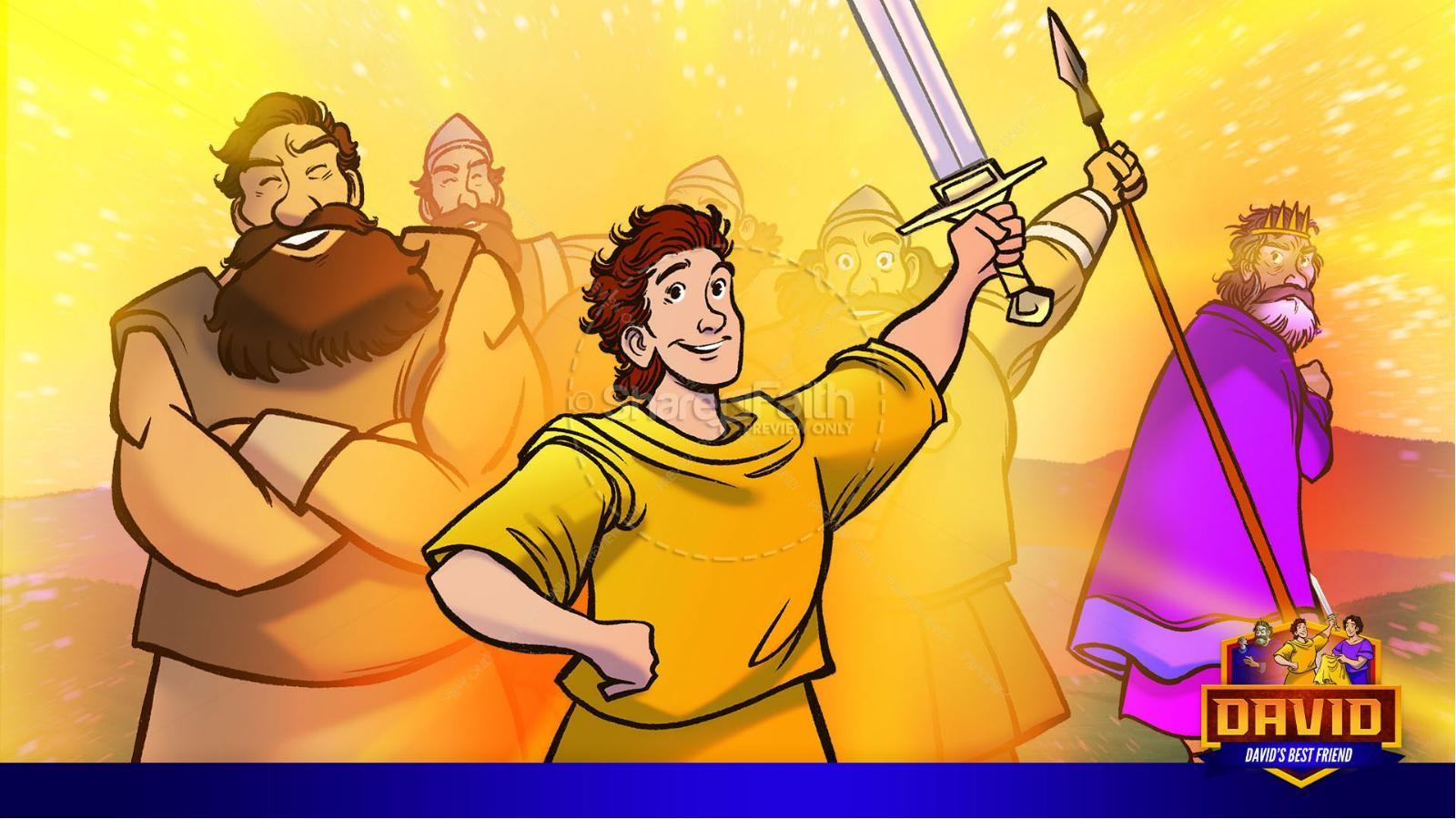 1 Samuel 18 19 David, Saul, & Jonathan Kids Bible Story | slide 29