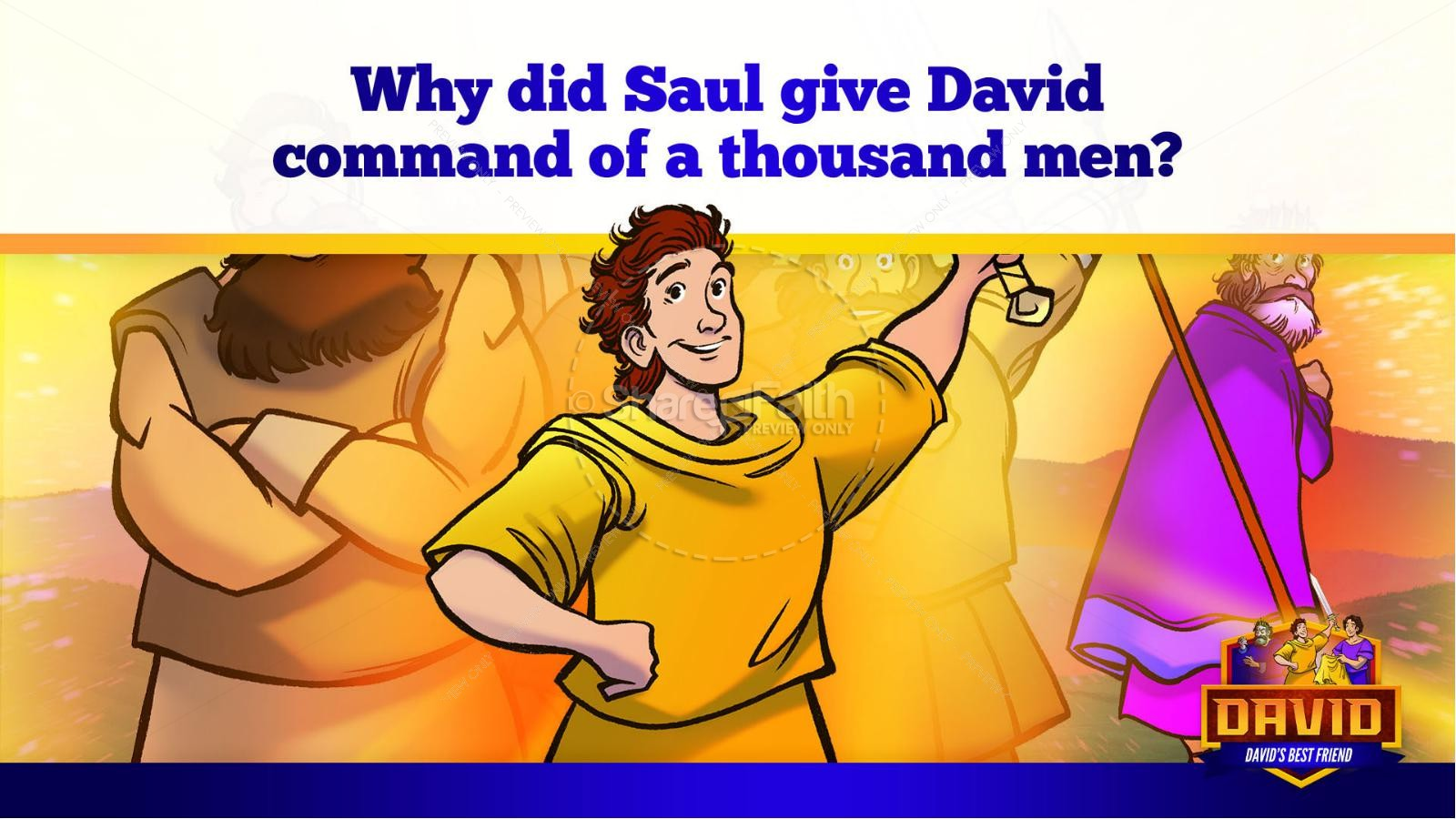 1 Samuel 18 19 David, Saul, & Jonathan Kids Bible Story | slide 30