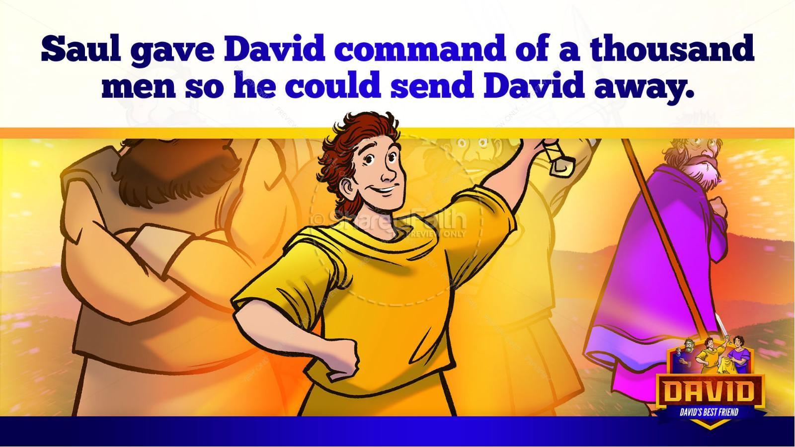 1 Samuel 18 19 David, Saul, & Jonathan Kids Bible Story | slide 31