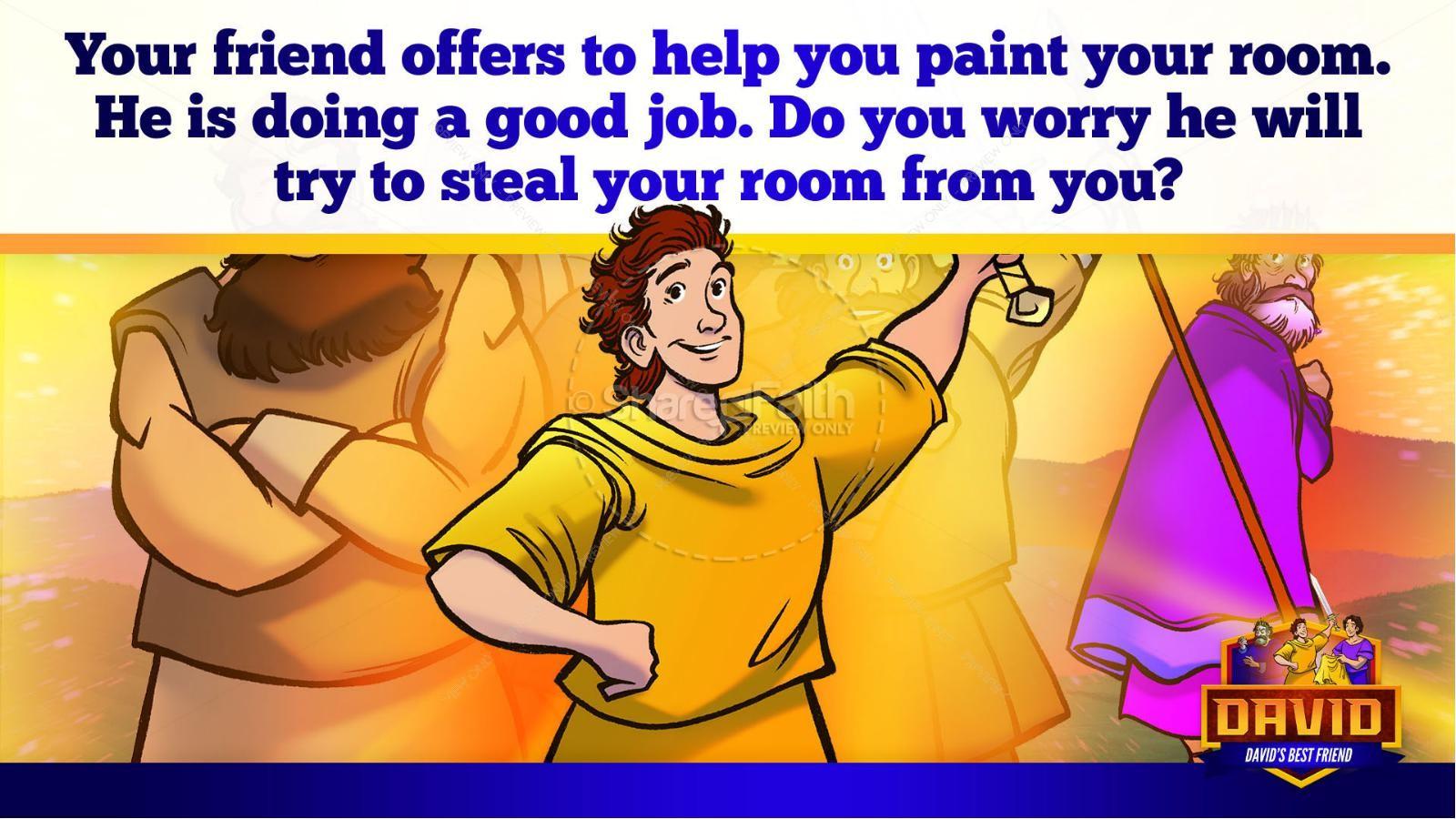 1 Samuel 18 19 David, Saul, & Jonathan Kids Bible Story | slide 32