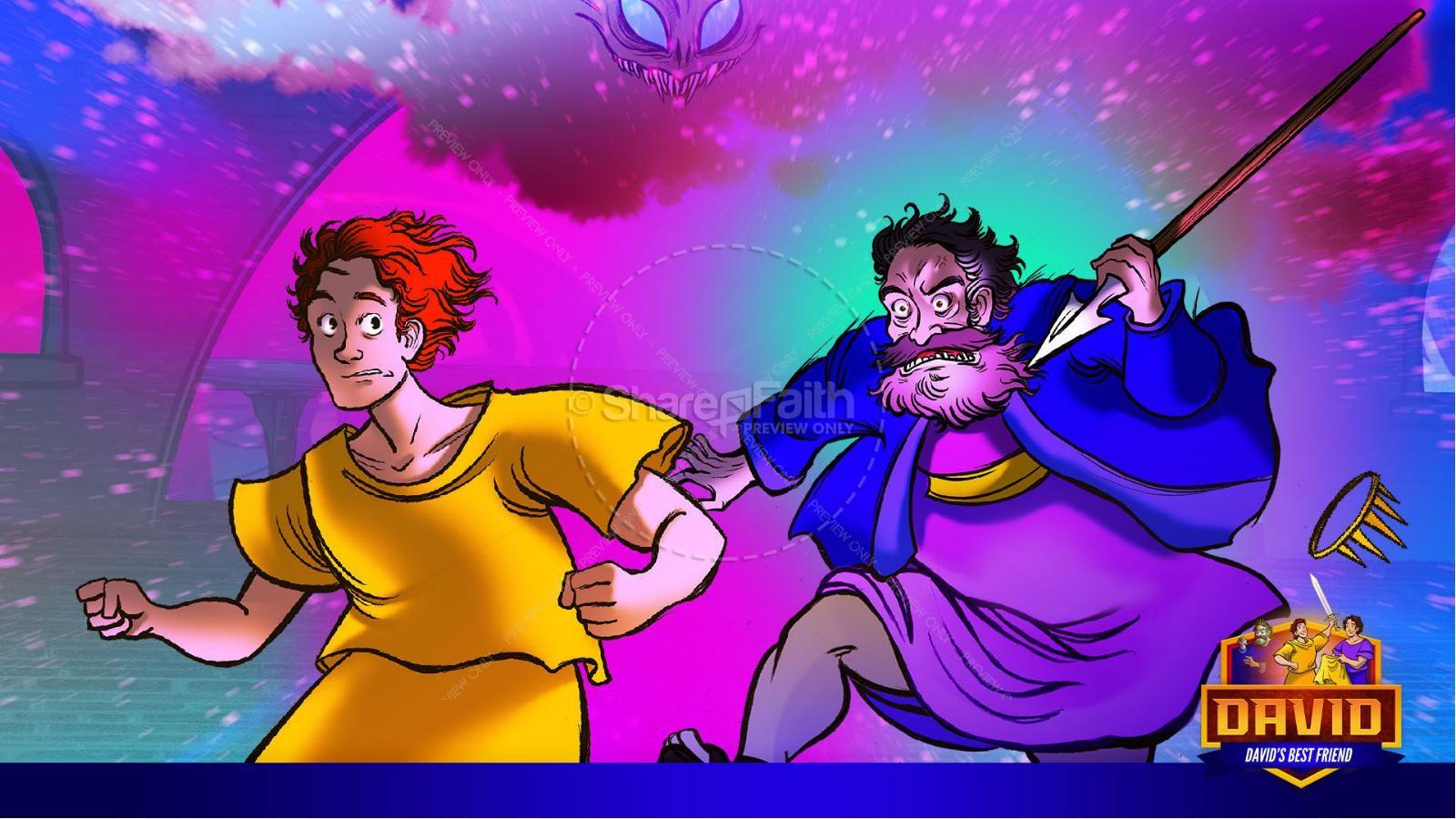 1 Samuel 18 19 David, Saul, & Jonathan Kids Bible Story | slide 37