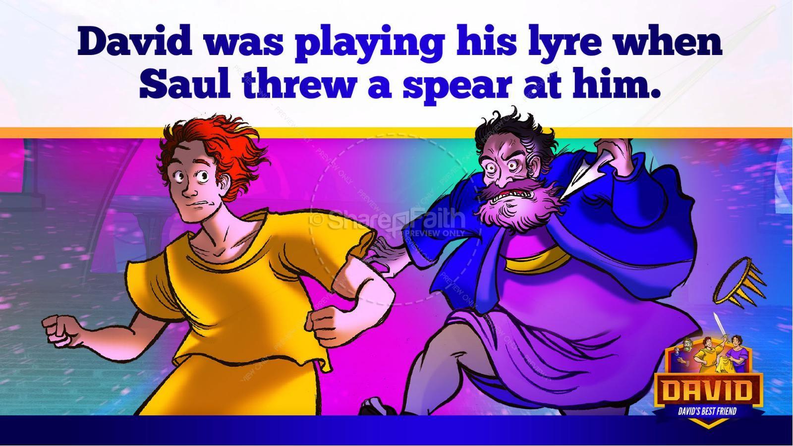 1 Samuel 18 19 David, Saul, & Jonathan Kids Bible Story | slide 39