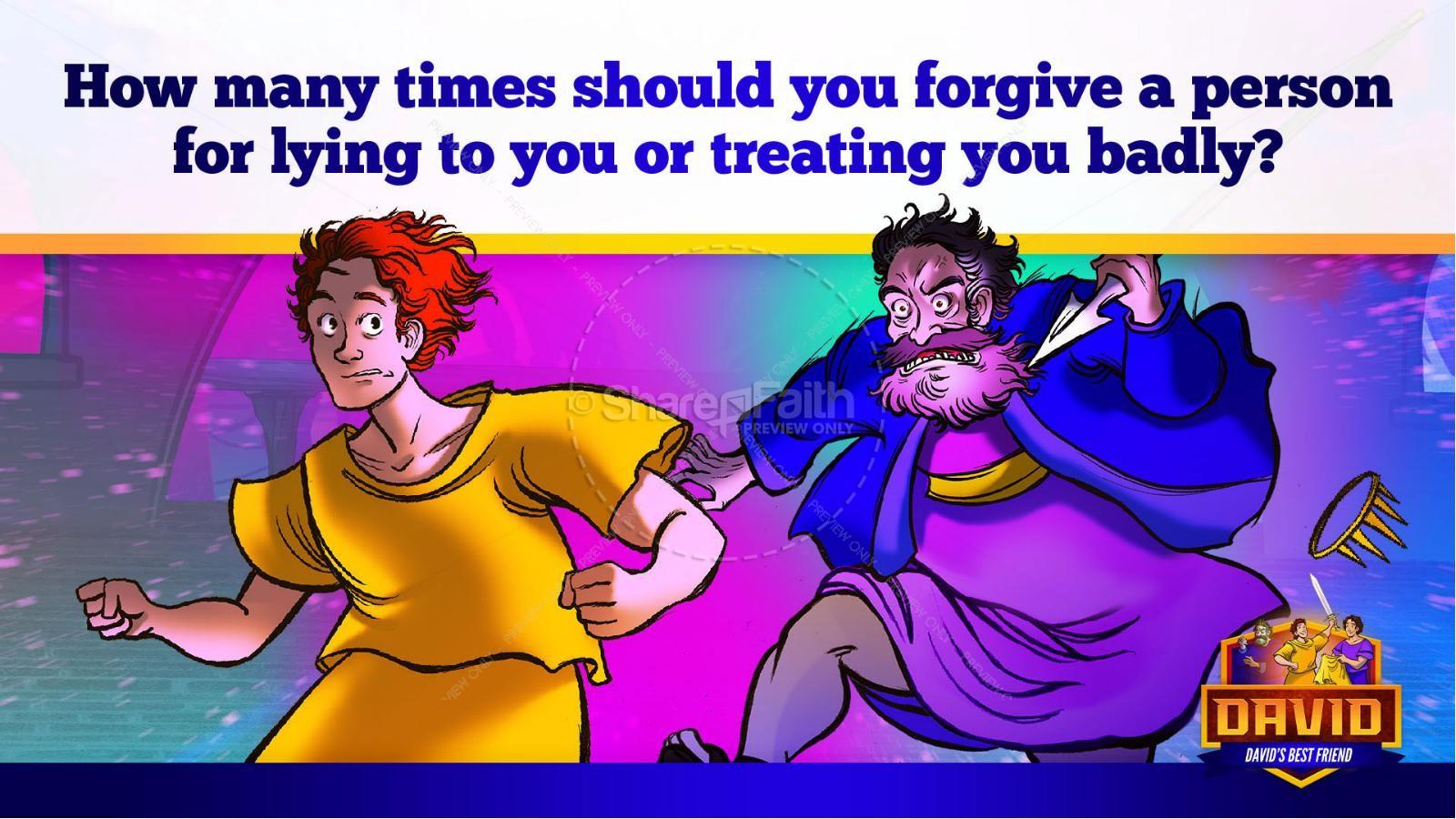 1 Samuel 18 19 David, Saul, & Jonathan Kids Bible Story | slide 40